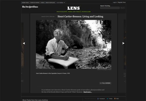 뉴욕타임스 사진, 동영상 블로그 '렌즈'