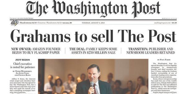 자사의 매각 소식을 일면에 실은 2013년 8월 6일자 워싱턴 포스트