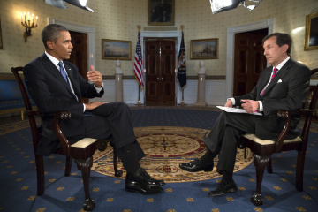 """U.S. President Obama participates in an interview with """"Fox News Sunday"""" anchor Wallace in the White House in Washington"""