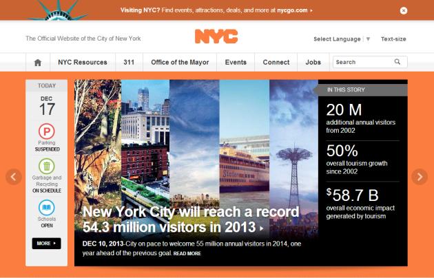 NYC.gov 홈페이지 메인 화면