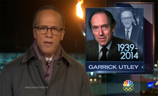NBC 출신 원로 저널리스트 게릭 어틀리의 부고를 전하는 NBC 뉴스 보도 화면
