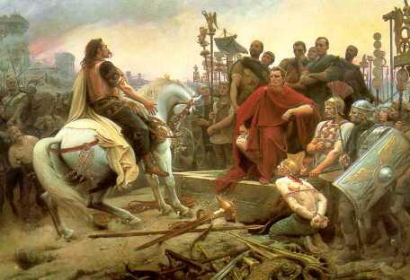 화려한 붉은 도포를 입은 카이사르가 갈리아 민족의 지도자 베르킨게토릭스의 항복을 받는 모습. 베르킨게토릭스는 개선행진 때 로마시민에게 포로로 공개된 후 처형되었다